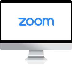Zoom logo on a computer screen